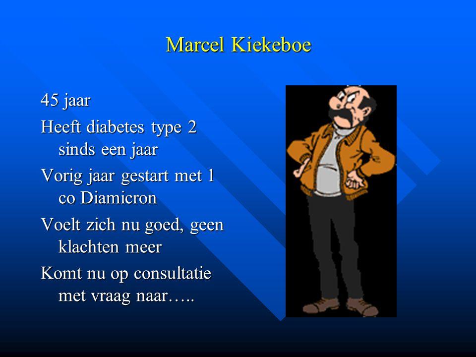 Marcel Kiekeboe 45 jaar Heeft diabetes type 2 sinds een jaar Vorig jaar gestart met 1 co Diamicron Voelt zich nu goed, geen klachten meer Komt nu op c