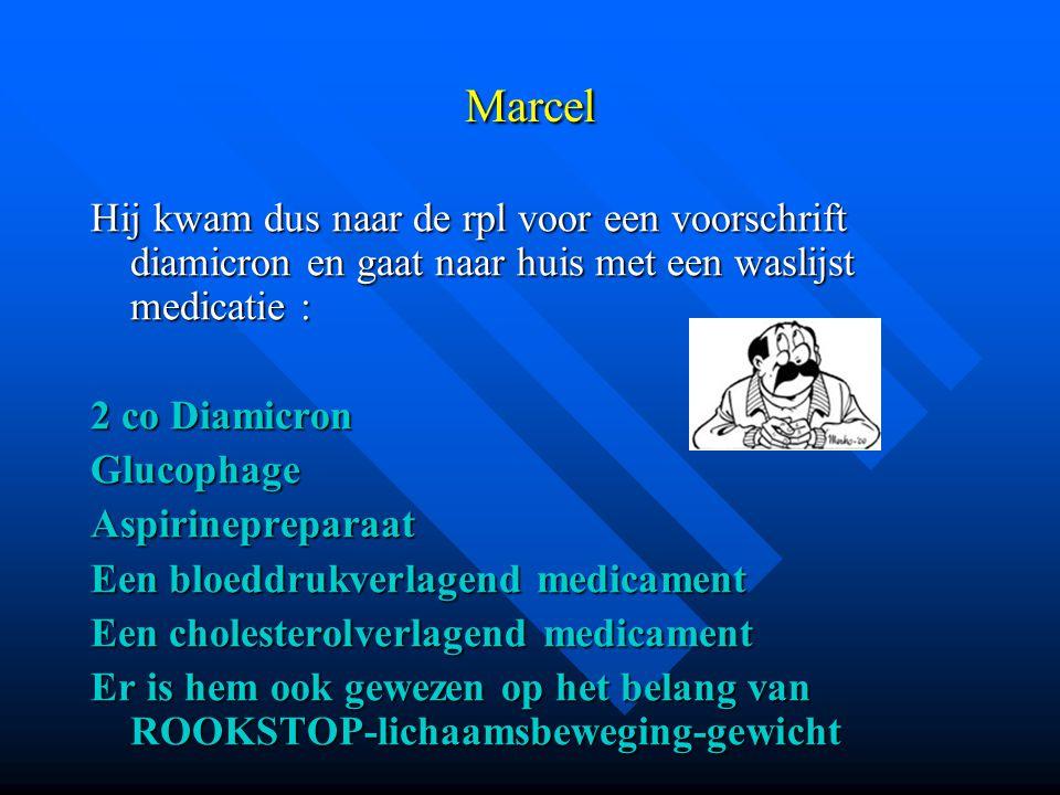 Marcel Hij kwam dus naar de rpl voor een voorschrift diamicron en gaat naar huis met een waslijst medicatie : 2 co Diamicron GlucophageAspirineprepara