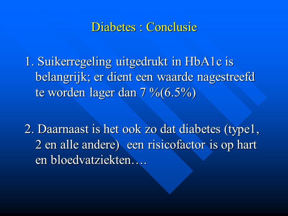 Diabetes : Conclusie 1. Suikerregeling uitgedrukt in HbA1c is belangrijk; er dient een waarde nagestreefd te worden lager dan 7 %(6.5%) 2. Daarnaast i