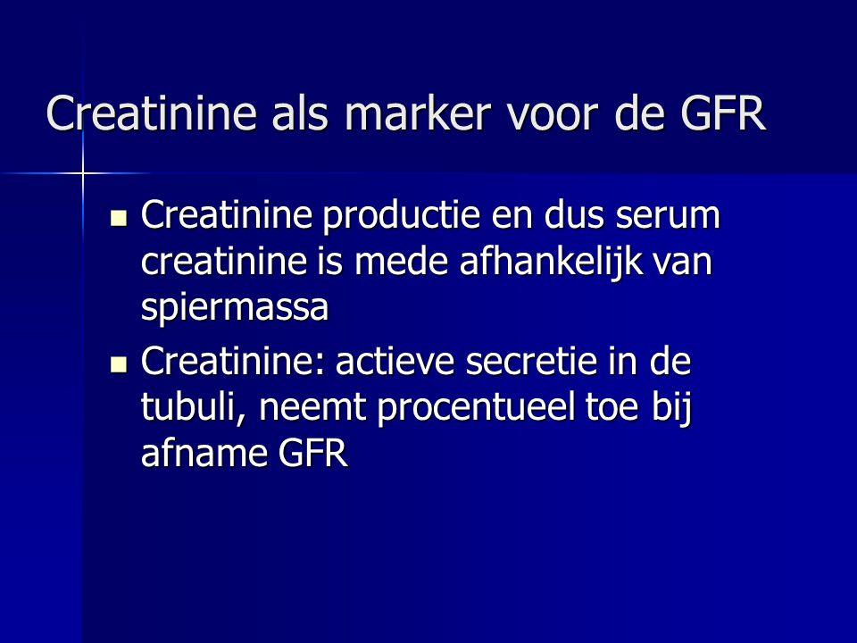 Creatinine als marker voor de GFR Creatinine productie en dus serum creatinine is mede afhankelijk van spiermassa Creatinine productie en dus serum cr