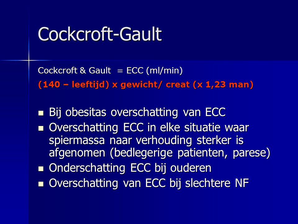 Cockcroft-Gault Cockcroft & Gault = ECC (ml/min) (140 – leeftijd) x gewicht/ creat (x 1,23 man) Bij obesitas overschatting van ECC Bij obesitas oversc