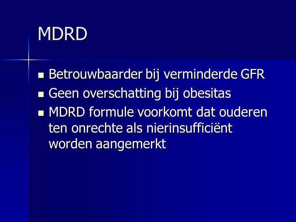 MDRD Betrouwbaarder bij verminderde GFR Betrouwbaarder bij verminderde GFR Geen overschatting bij obesitas Geen overschatting bij obesitas MDRD formul