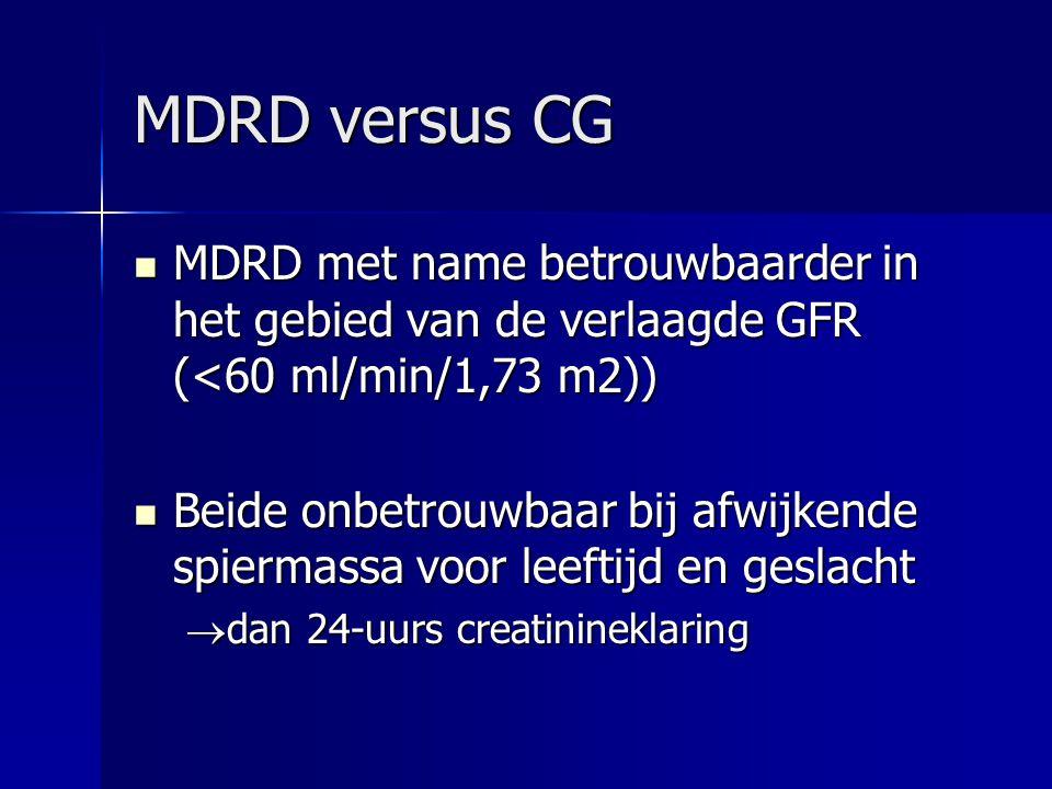 MDRD versus CG MDRD met name betrouwbaarder in het gebied van de verlaagde GFR (<60 ml/min/1,73 m2)) MDRD met name betrouwbaarder in het gebied van de