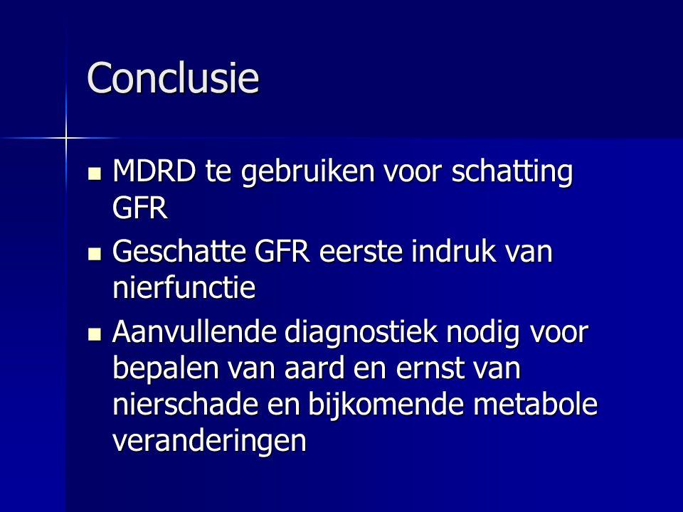 Conclusie MDRD te gebruiken voor schatting GFR MDRD te gebruiken voor schatting GFR Geschatte GFR eerste indruk van nierfunctie Geschatte GFR eerste i