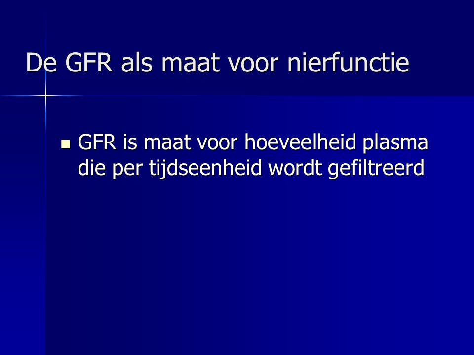 Maten voor nierfunctie Inuline klaring (GFR) Inuline klaring (GFR) Serum creatinine Serum creatinine Endogene Creatinine Clearance (ECC) Endogene Creatinine Clearance (ECC) = 24 uurs-klaring Cockroft (=geschatte ECC) Cockroft (=geschatte ECC) MDRD(3) (= eGFR) MDRD(3) (= eGFR)