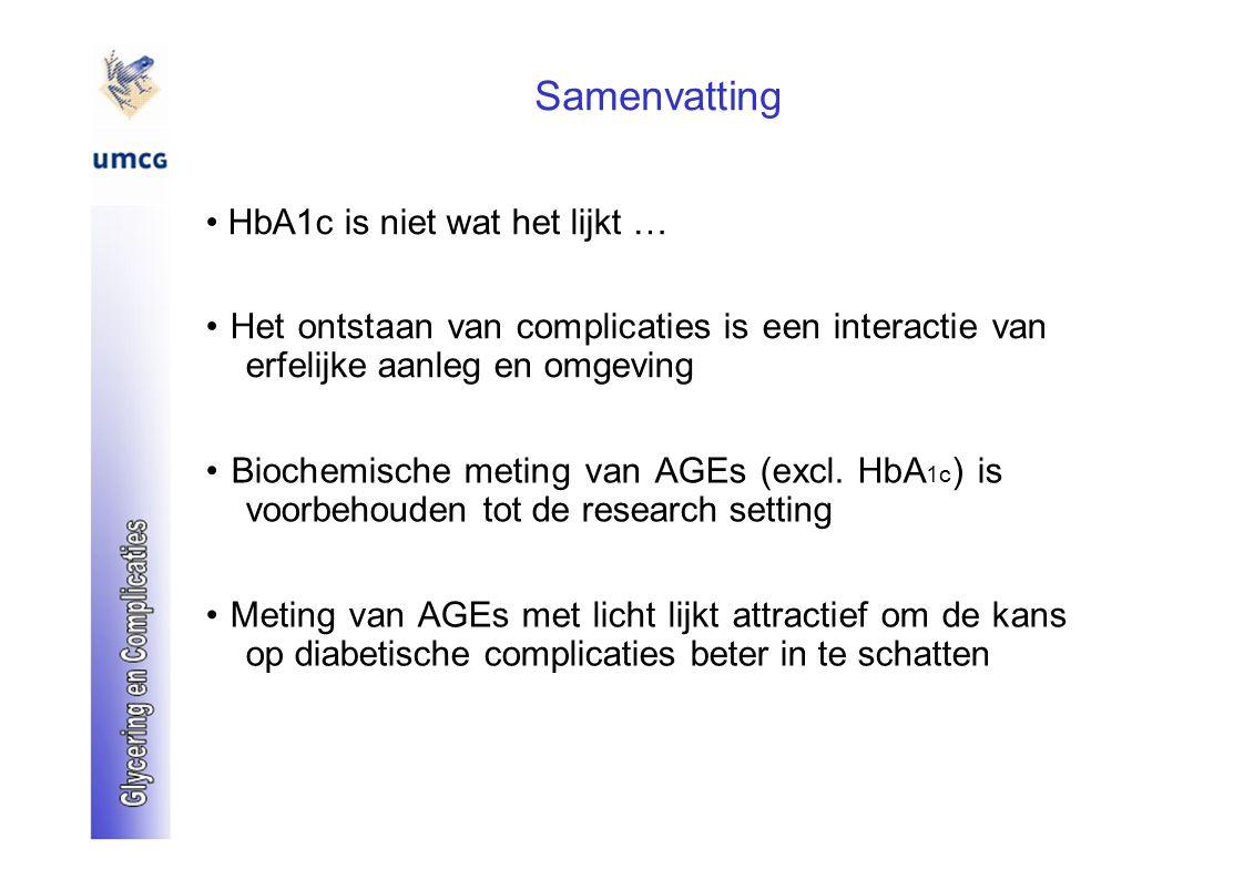 Samenvatting HbA1c is niet wat het lijkt … Het ontstaan van complicaties is een interactie van erfelijke aanleg en omgeving Biochemische meting van AG