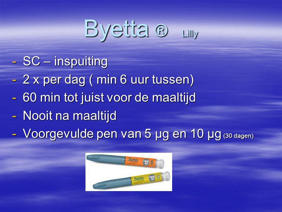 Byetta ® Lilly -SC – inspuiting -2 x per dag ( min 6 uur tussen) -60 min tot juist voor de maaltijd -Nooit na maaltijd -Voorgevulde pen van 5 µg en 10 µg (30 dagen)