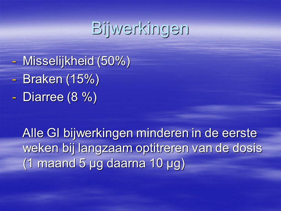 Bijwerkingen -Misselijkheid (50%) -Braken (15%) -Diarree (8 %) Alle GI bijwerkingen minderen in de eerste weken bij langzaam optitreren van de dosis (1 maand 5 µg daarna 10 µg) Alle GI bijwerkingen minderen in de eerste weken bij langzaam optitreren van de dosis (1 maand 5 µg daarna 10 µg)