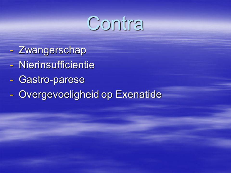 Contra -Zwangerschap -Nierinsufficientie -Gastro-parese -Overgevoeligheid op Exenatide