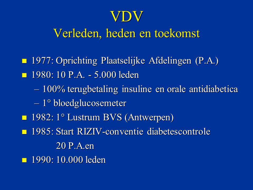 VDV Verleden, heden en toekomst n 1977: Oprichting Plaatselijke Afdelingen (P.A.) n 1980: 10 P.A. - 5.000 leden –100% terugbetaling insuline en orale
