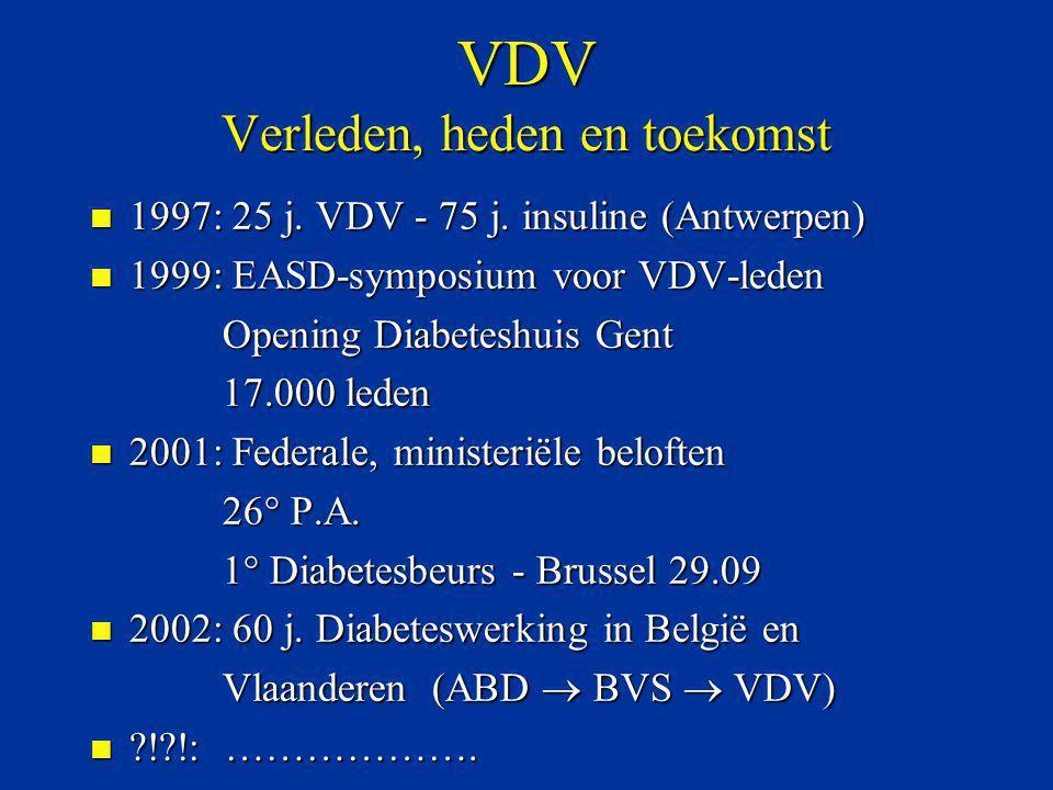 VDV Verleden, heden en toekomst n 1997: 25 j. VDV - 75 j. insuline (Antwerpen) n 1999: EASD-symposium voor VDV-leden Opening Diabeteshuis Gent Opening