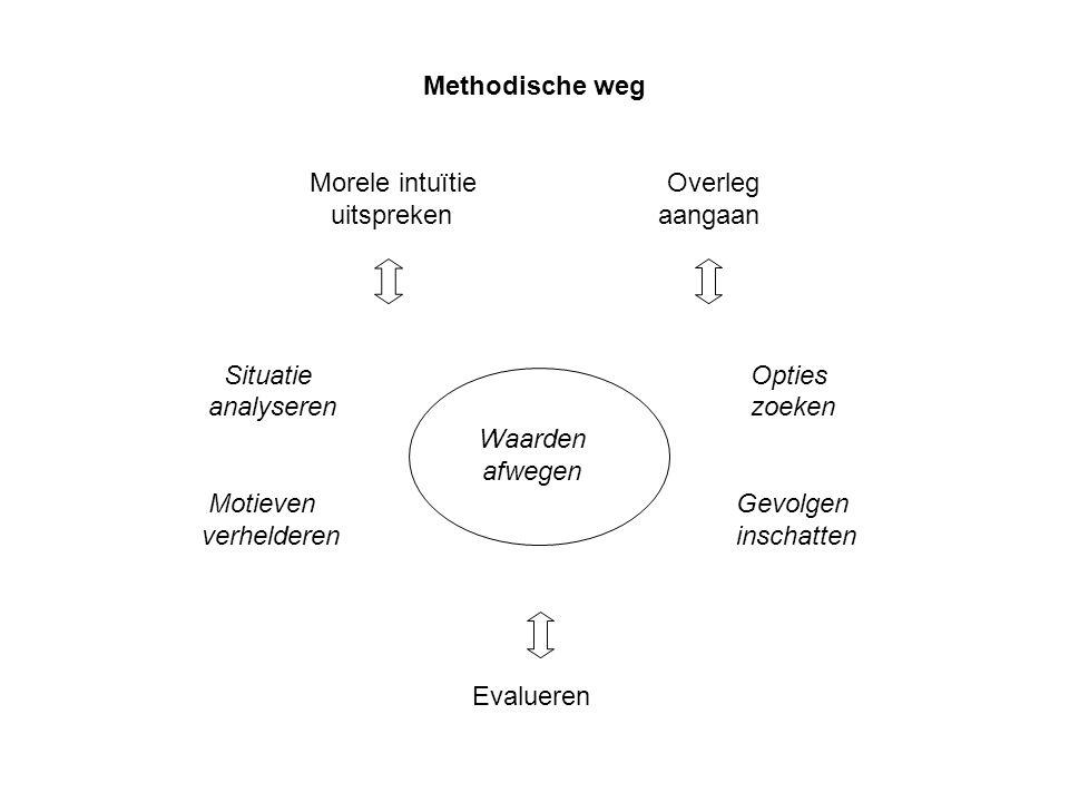Methodische weg Morele intuïtie Overleg uitspreken aangaan Situatie Opties analyseren zoeken Waarden afwegen Motieven Gevolgen verhelderen inschatten Evalueren