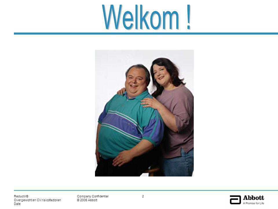 Reductil® Overgewicht en CV risicofactoren Date 53Company Confidential © 2005 Abbott Back-up Neveneffecten CV bijwerkingen of contra-indicaties