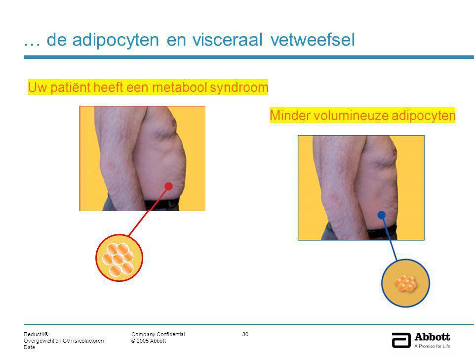Reductil® Overgewicht en CV risicofactoren Date 30Company Confidential © 2005 Abbott Minder volumineuze adipocyten Uw patiënt heeft een metabool syndroom … de adipocyten en visceraal vetweefsel