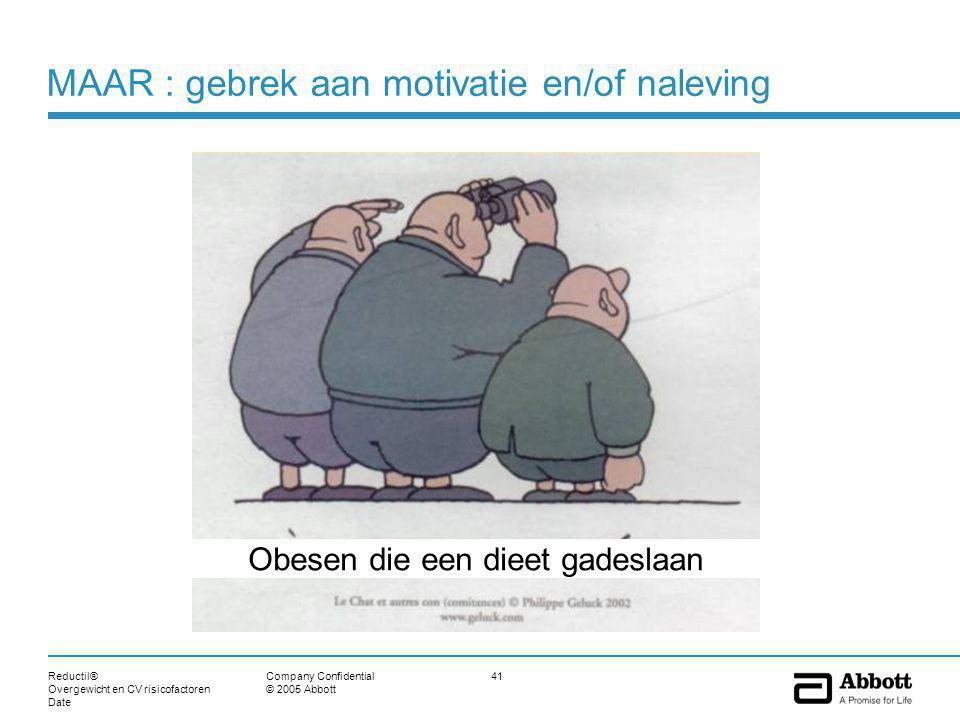 Reductil® Overgewicht en CV risicofactoren Date 41Company Confidential © 2005 Abbott MAAR : gebrek aan motivatie en/of naleving Obesen die een dieet gadeslaan