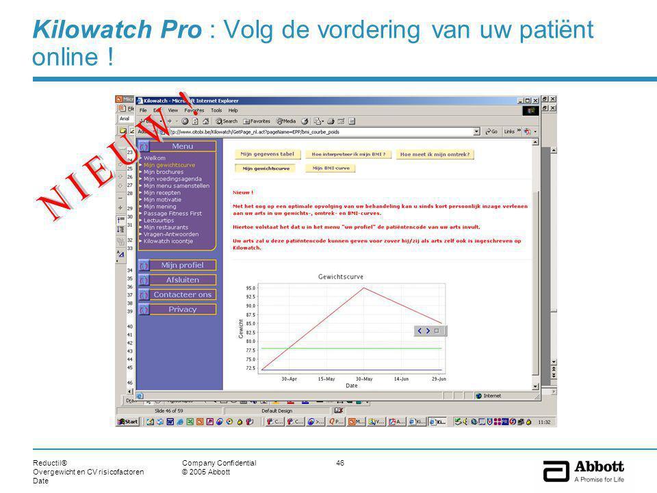 Reductil® Overgewicht en CV risicofactoren Date 46Company Confidential © 2005 Abbott Kilowatch Pro : Volg de vordering van uw patiënt online !