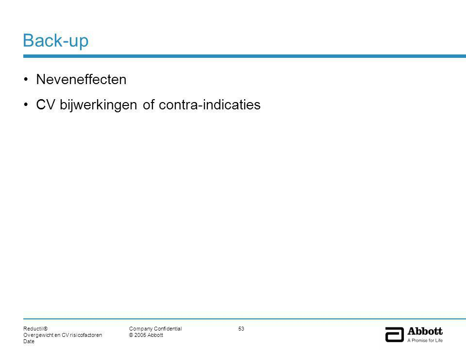 Reductil® Overgewicht en CV risicofactoren Date 53Company Confidential © 2005 Abbott Back-up Neveneffecten CV bijwerkingen of contra-indicaties