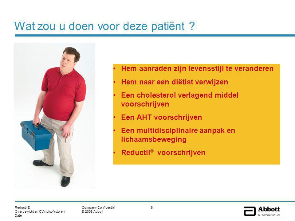 Reductil® Overgewicht en CV risicofactoren Date 37Company Confidential © 2005 Abbott McNulty SJ, Ur E, Williams G for the Multicenter Sibutramine Study Group, Diabetes Care 26: 125-131, 2003 ** Verandering in HbA1c (gemiddeld) -1.2 -0.8 -0.6 -0.4 -0.2 Voor diabetes patiënten met overgewicht HbA1C :-1.02 % * Placebo Sib.