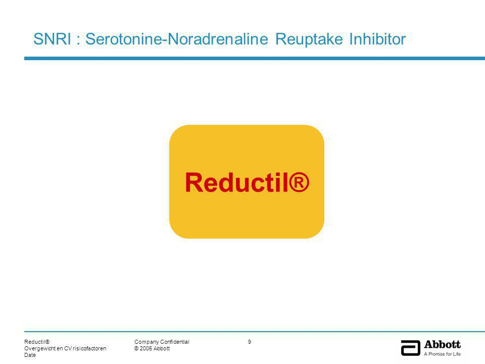 Reductil® Overgewicht en CV risicofactoren Date 9Company Confidential © 2005 Abbott Reductil® SNRI : Serotonine-Noradrenaline Reuptake Inhibitor