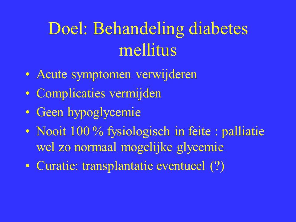 Doel: Behandeling diabetes mellitus Acute symptomen verwijderen Complicaties vermijden Geen hypoglycemie Nooit 100 % fysiologisch in feite : palliatie