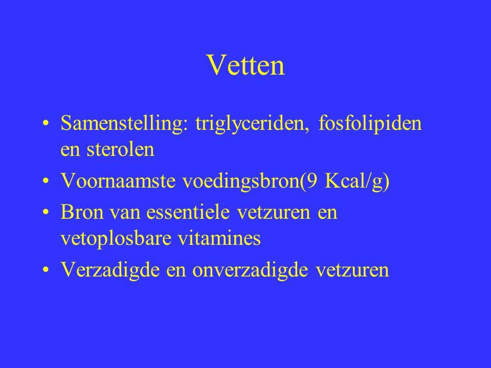 Vetten Samenstelling: triglyceriden, fosfolipiden en sterolen Voornaamste voedingsbron(9 Kcal/g) Bron van essentiele vetzuren en vetoplosbare vitamine