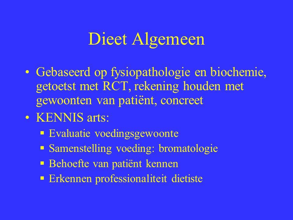 Dieet Algemeen Gebaseerd op fysiopathologie en biochemie, getoetst met RCT, rekening houden met gewoonten van patiënt, concreet KENNIS arts:  Evaluat
