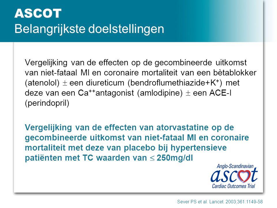 ASCOT Belangrijkste doelstellingen Vergelijking van de effecten op de gecombineerde uitkomst van niet-fataal MI en coronaire mortaliteit van een bètab