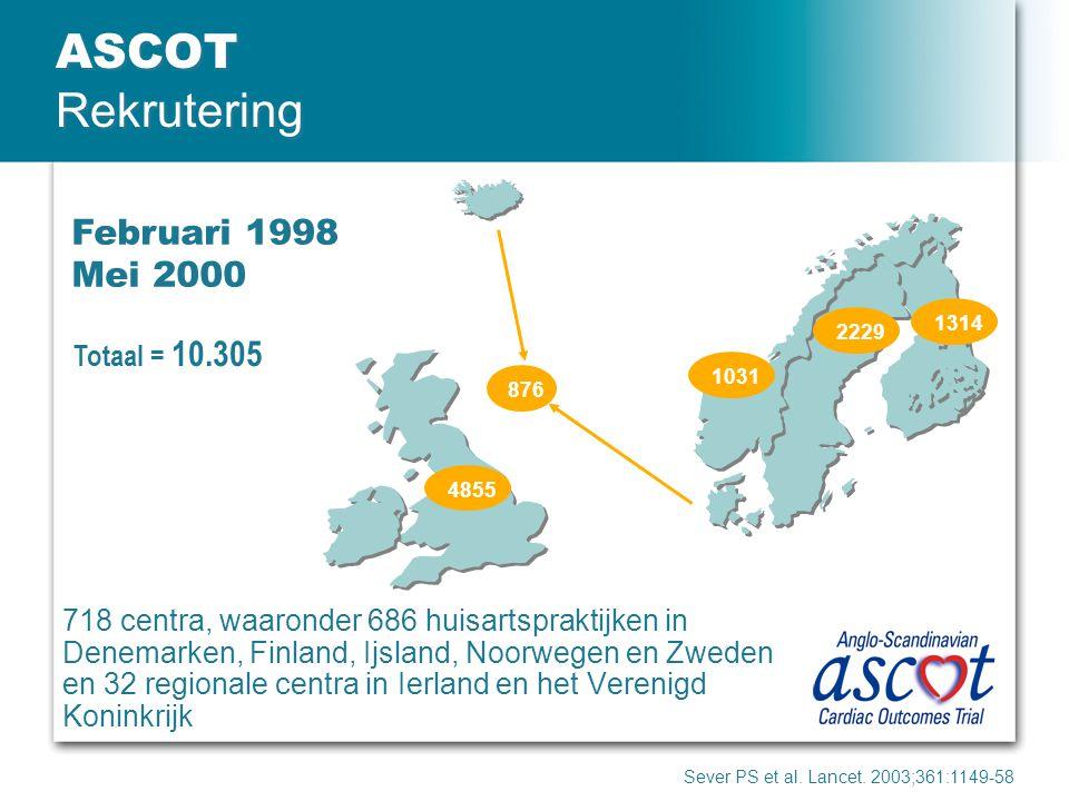 ASCOT Rekrutering Sever PS et al. Lancet. 2003;361:1149-58 Februari 1998 Mei 2000 718 centra, waaronder 686 huisartspraktijken in Denemarken, Finland,