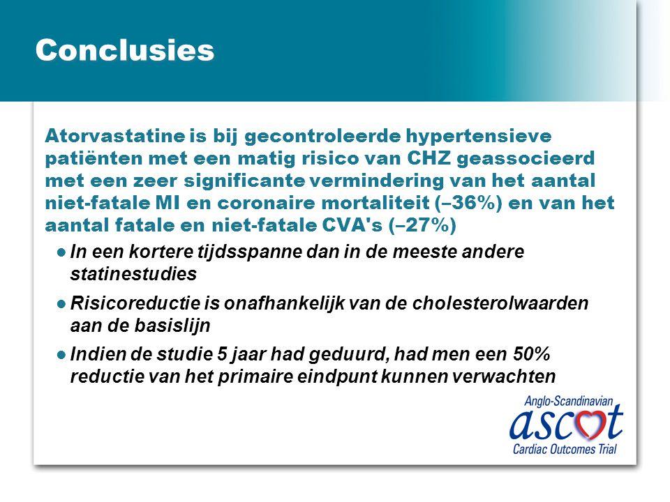 Conclusies Atorvastatine is bij gecontroleerde hypertensieve patiënten met een matig risico van CHZ geassocieerd met een zeer significante verminderin