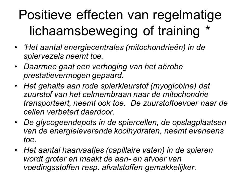 Positieve effecten van regelmatige lichaamsbeweging of training * 'Het aantal energiecentrales (mitochondrieën) in de spiervezels neemt toe. Daarmee g