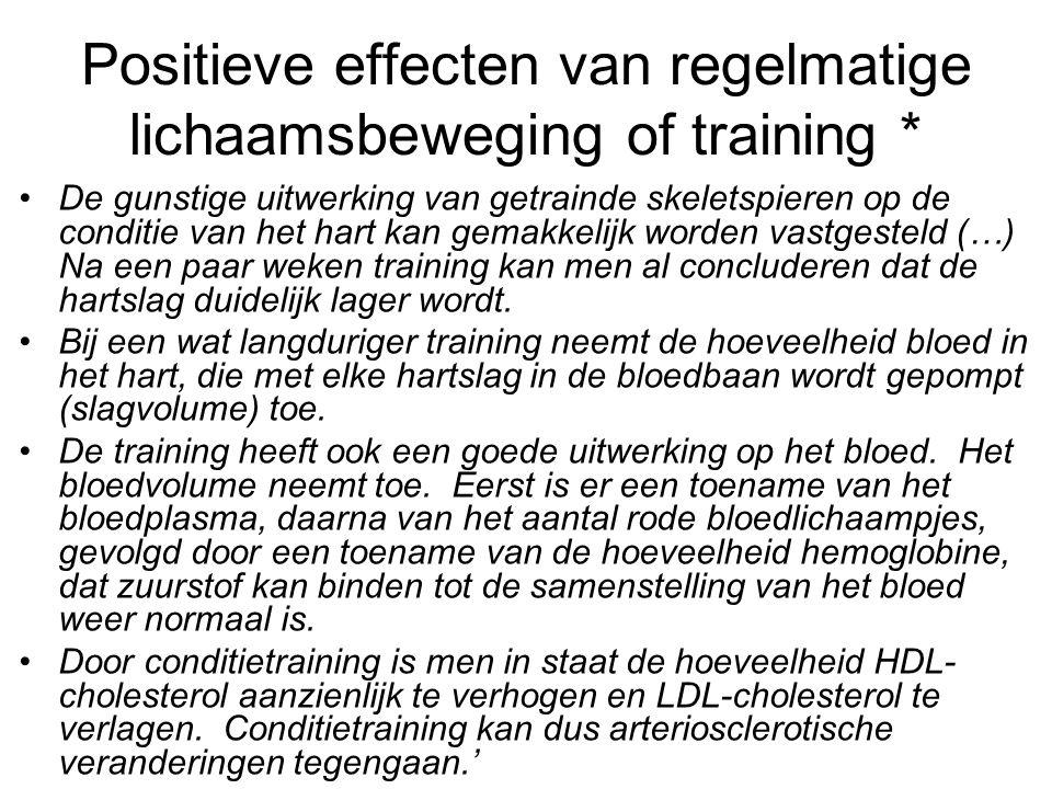 Positieve effecten van regelmatige lichaamsbeweging of training * De gunstige uitwerking van getrainde skeletspieren op de conditie van het hart kan g