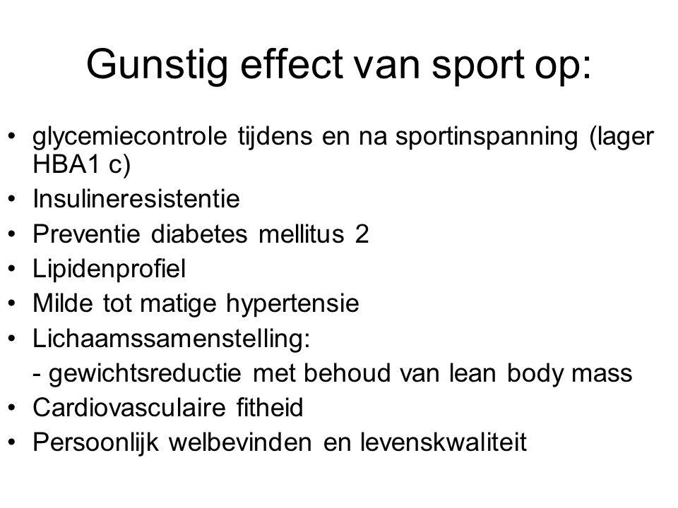 Gunstig effect van sport op: glycemiecontrole tijdens en na sportinspanning (lager HBA1 c) Insulineresistentie Preventie diabetes mellitus 2 Lipidenpr