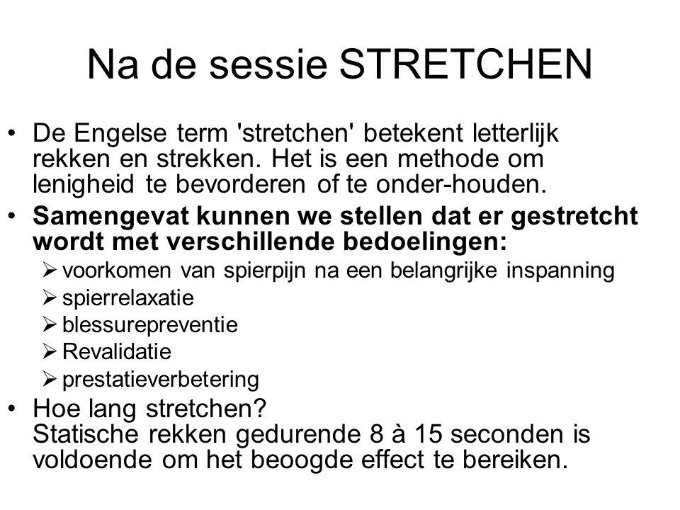 Na de sessie STRETCHEN De Engelse term 'stretchen' betekent letterlijk rekken en strekken. Het is een methode om lenigheid te bevorderen of te onder-h