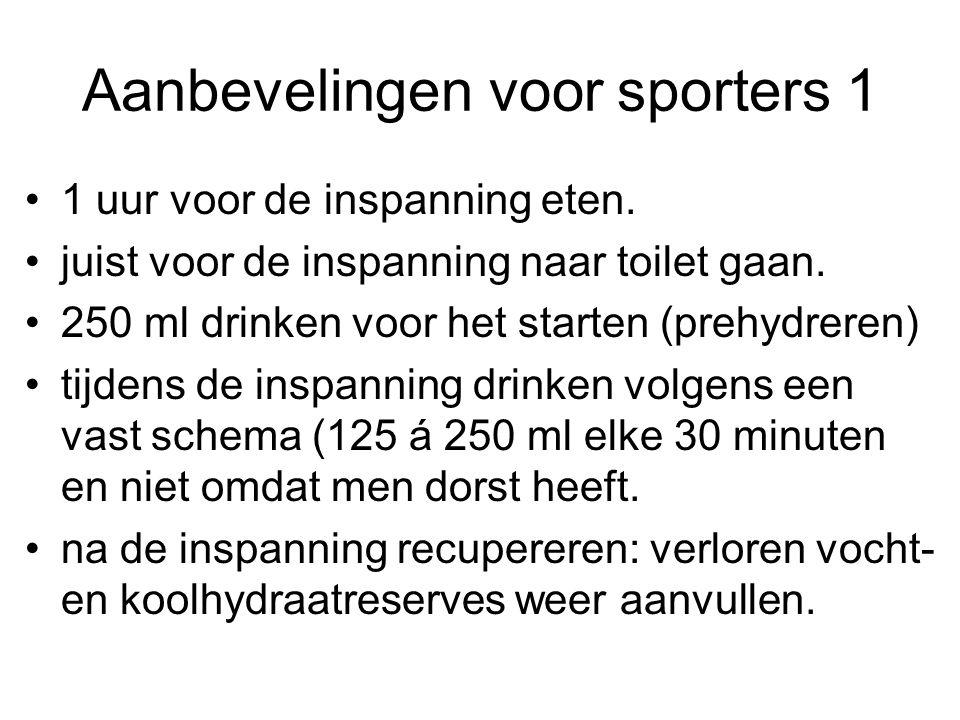 Aanbevelingen voor sporters 1 1 uur voor de inspanning eten. juist voor de inspanning naar toilet gaan. 250 ml drinken voor het starten (prehydreren)
