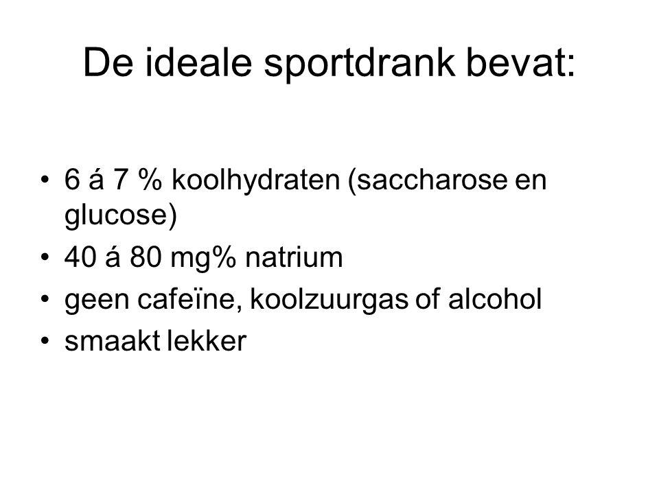 De ideale sportdrank bevat: 6 á 7 % koolhydraten (saccharose en glucose) 40 á 80 mg% natrium geen cafeïne, koolzuurgas of alcohol smaakt lekker