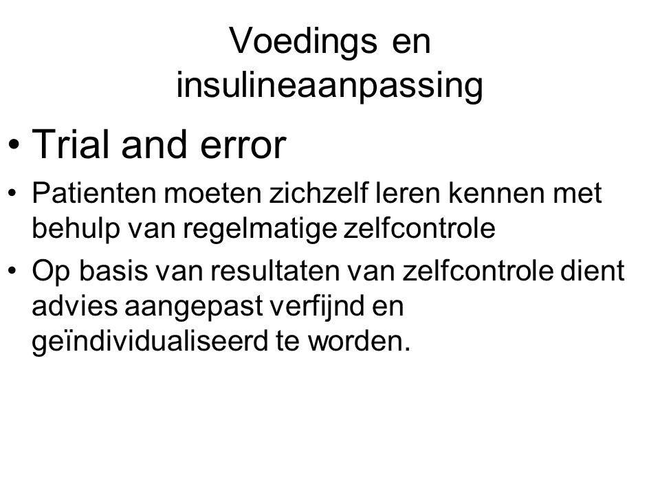 Voedings en insulineaanpassing Trial and error Patienten moeten zichzelf leren kennen met behulp van regelmatige zelfcontrole Op basis van resultaten