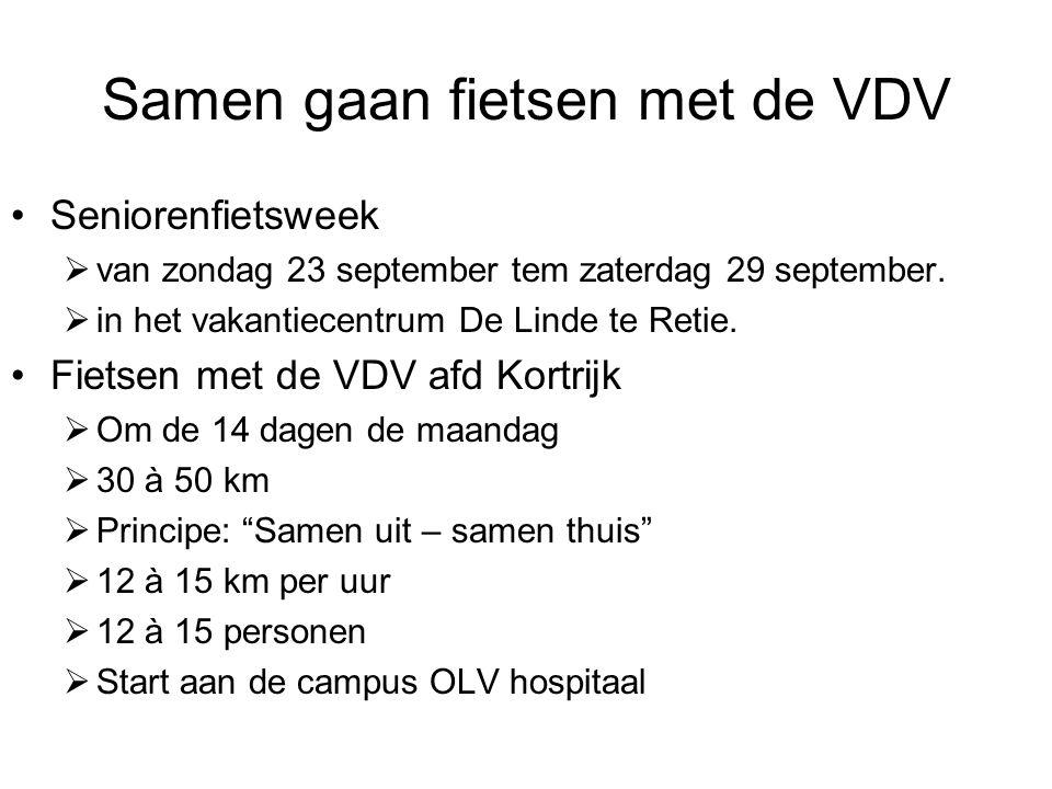 Samen gaan fietsen met de VDV Seniorenfietsweek  van zondag 23 september tem zaterdag 29 september.  in het vakantiecentrum De Linde te Retie. Fiets
