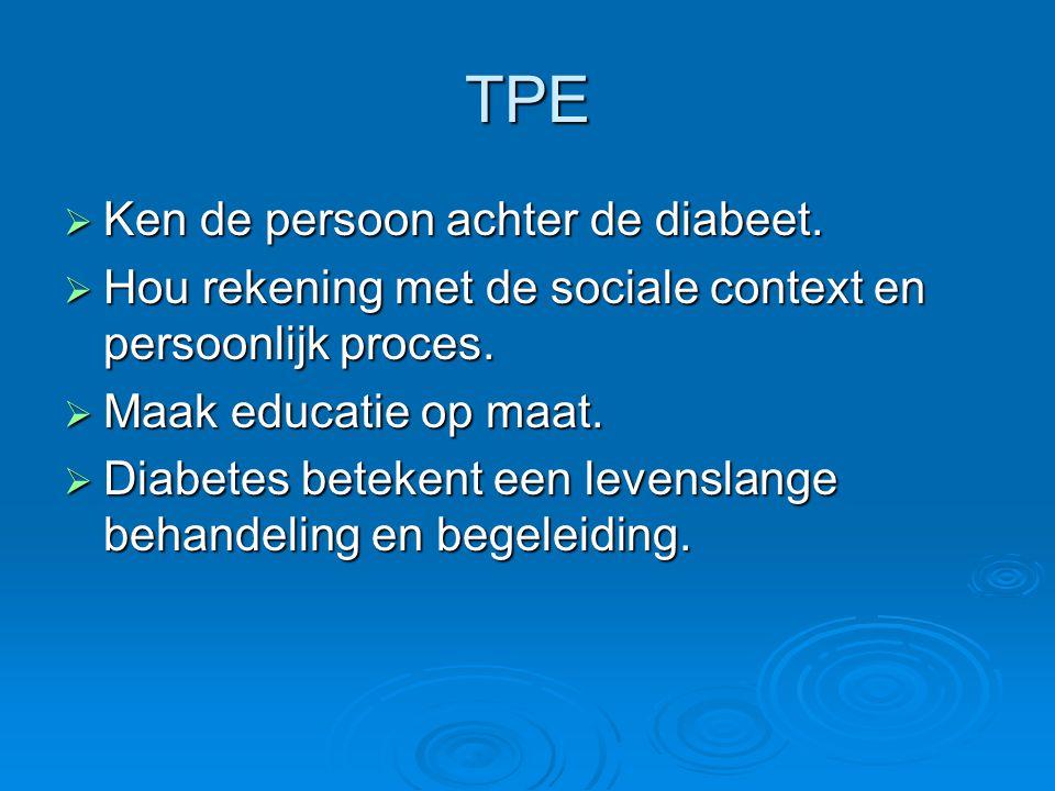 TPE  Ken de persoon achter de diabeet.  Hou rekening met de sociale context en persoonlijk proces.  Maak educatie op maat.  Diabetes betekent een