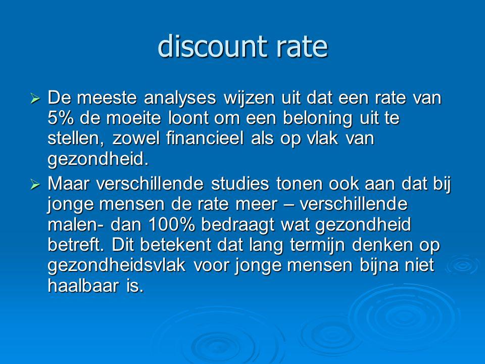 discount rate  De meeste analyses wijzen uit dat een rate van 5% de moeite loont om een beloning uit te stellen, zowel financieel als op vlak van gez