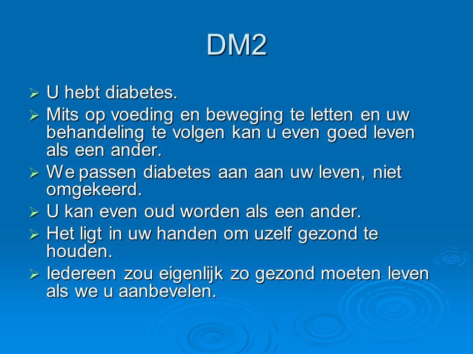 DM2  U hebt diabetes.  Mits op voeding en beweging te letten en uw behandeling te volgen kan u even goed leven als een ander.  We passen diabetes a