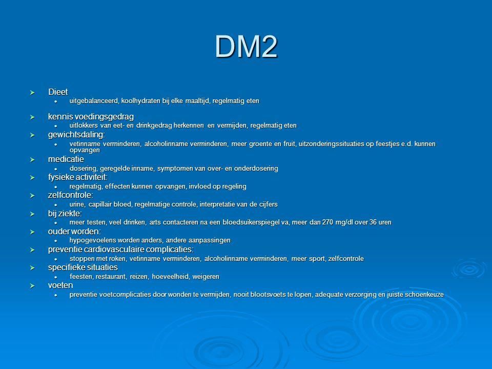 DM2  Dieet uitgebalanceerd, koolhydraten bij elke maaltijd, regelmatig eten uitgebalanceerd, koolhydraten bij elke maaltijd, regelmatig eten  kennis