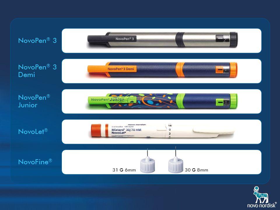 NovoPen ® 3 pionier onder de insulinepennen NovoPen ® Junior attractieve versie voor kinderen NovoLet ® een volledig gamma insulines in een klaar-voor-gebruik injectiesysteem NovoPen ® 3 Demi nauwkeurige dosering per halve eenheid