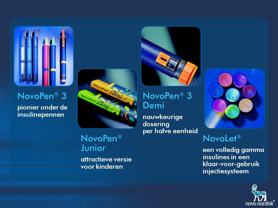 NovoPen ® 3 PenMate ® vermindert prikangst NovoFine ® Remover het risico op prikaccidenten vermijden NovoPen ® 3 Magnifier vergemakkelijkt het aflezen van de juiste dosis