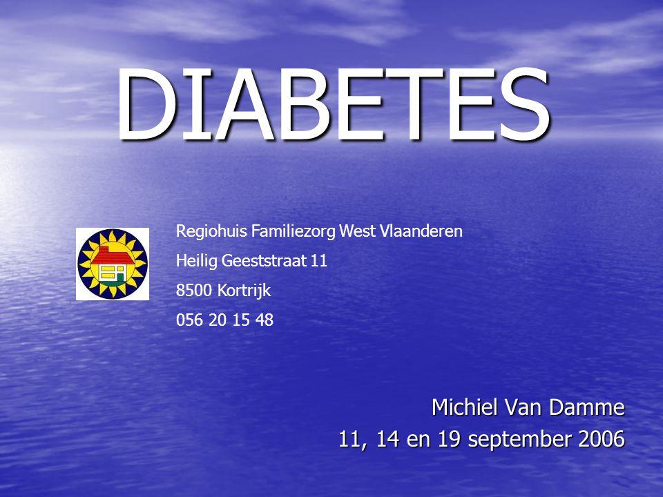 DIABETES Michiel Van Damme 11, 14 en 19 september 2006 Regiohuis Familiezorg West Vlaanderen Heilig Geeststraat 11 8500 Kortrijk 056 20 15 48