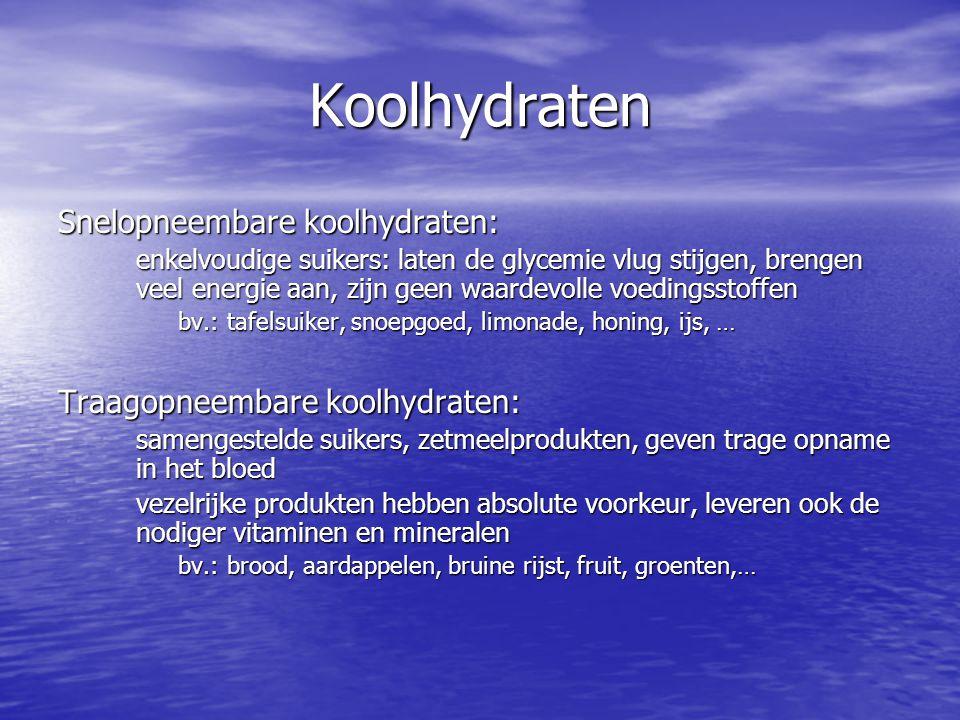 Koolhydraten Snelopneembare koolhydraten: enkelvoudige suikers: laten de glycemie vlug stijgen, brengen veel energie aan, zijn geen waardevolle voedin