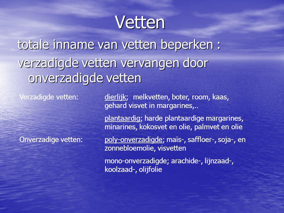Vetten totale inname van vetten beperken : verzadigde vetten vervangen door onverzadigde vetten Verzadigde vetten: dierlijk; melkvetten, boter, room,