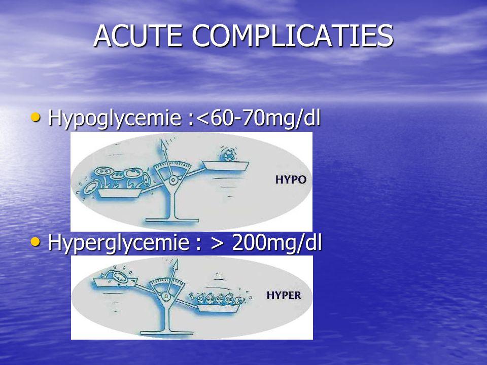 ACUTE COMPLICATIES Hypoglycemie :<60-70mg/dl Hypoglycemie :<60-70mg/dl Hyperglycemie : > 200mg/dl Hyperglycemie : > 200mg/dl