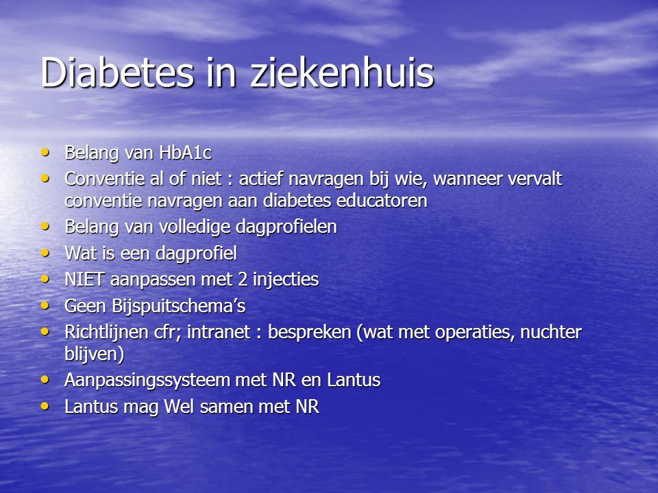 Diabetes in ziekenhuis Belang van HbA1c Belang van HbA1c Conventie al of niet : actief navragen bij wie, wanneer vervalt conventie navragen aan diabet