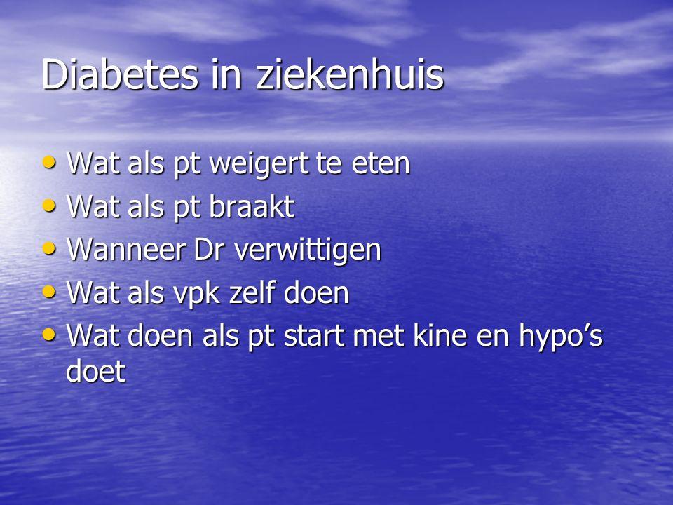 Diabetes in ziekenhuis Wat als pt weigert te eten Wat als pt weigert te eten Wat als pt braakt Wat als pt braakt Wanneer Dr verwittigen Wanneer Dr ver