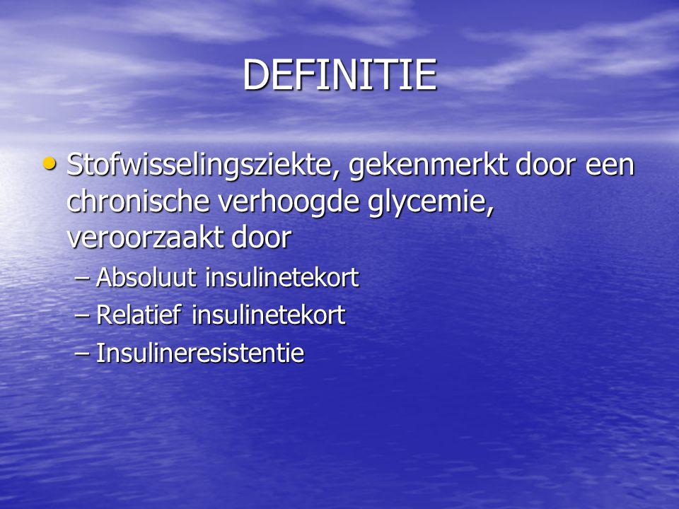 DEFINITIE Stofwisselingsziekte, gekenmerkt door een chronische verhoogde glycemie, veroorzaakt door Stofwisselingsziekte, gekenmerkt door een chronisc